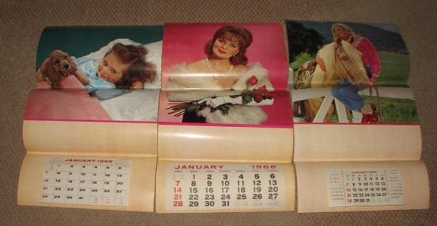 Sample pages of 1968 calander Salesman samples