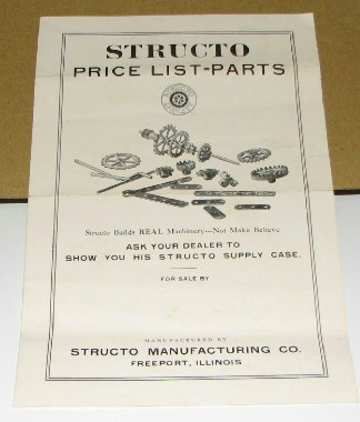 STRUCTO TOY PARTS LIST
